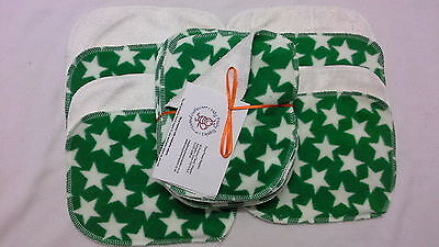 Green Star! Bamboo & Fleece washable baby wipes pk10 NEW washable nappy wipes