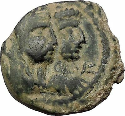 ARETAS IV & SHAQUILAT Arab Kingdom of Nabataea PETRA Ancient Greek Coin i46671