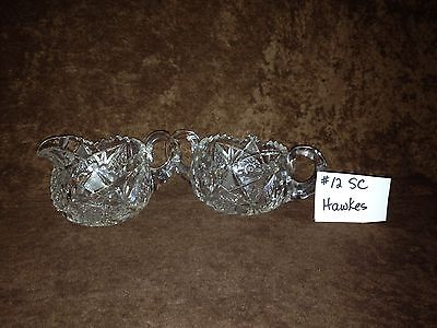 American Brilliant Cut Glass Hawkes Sugar and Creamer #12SC