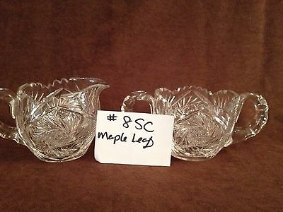 American Brilliant Cut Glass Maple Leaf Sugar and Creamer #8SC