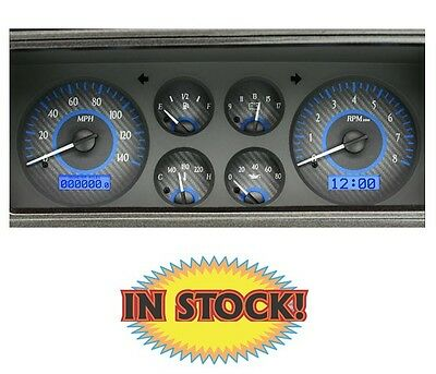 Dakota Dightal 1978-88 Chevy Monte Carlo Gauge Kit Carbon/Blue  VHX-78C-MC-C-B
