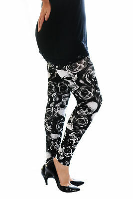 New Ladies Leggings Plus Size Womens Skulls and Roses Trouser Tattoo Nouvelle