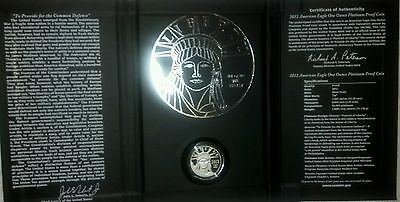 2012 Platinum Proof American Eagle One Ounce w/ COA and US Mint Packaging