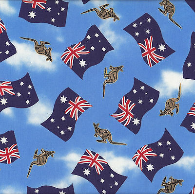Australian Flags Kangaroos on Blue Aussie Quilting Fabric Craft FQ or Metre NEW