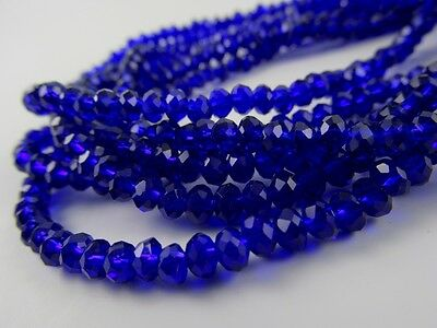 Rondelle faceted glass royal blue beads crystal loose jewerly 4mm 6mm 8mm C16