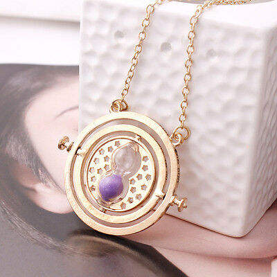 Hot Harry Potter Hermione Granger Rotating Time Turner Necklace Gold Hourglass