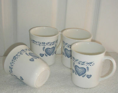 CORNING CORELLE BLUE HEARTS  LOT OF 4 CUPS