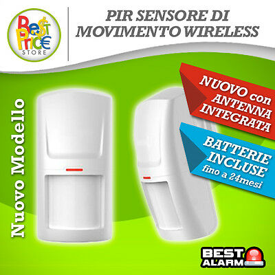 SENSORE DI MOVIMENTO PIR VOLUMETRICO WIRELESS 433 Mhz ANTIFURTO ALLARME  B-C-N-X