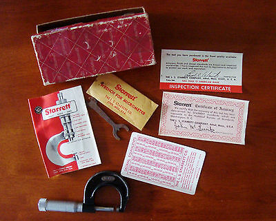 Starrett 0-1 Inch Micrometer No 436 With Box Free Shipping