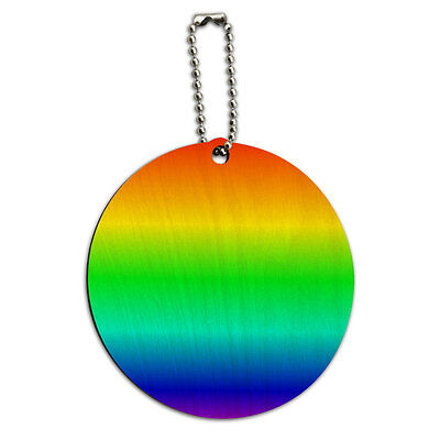 Rainbow Gay Lesbian Round Wood ID Tag Luggage Card Suitcase Carry-On