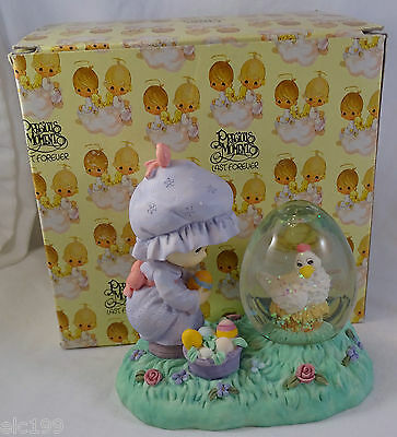 Precious Moments Water Globe Girl with Hen  Easter
