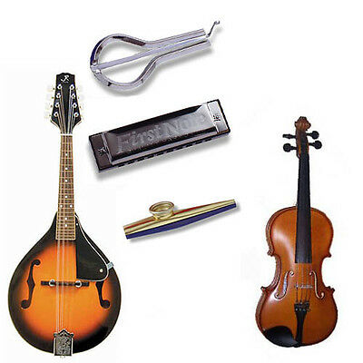 Bluegrass Music Pack Deluxe-Fiddle, Mandolin, Harmonica, Jaw Harp, Spoons, Kazoo