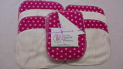 Fuchsia Spot! Bamboo & Fleece washable baby wipes pk10 NEW washable nappy wipes
