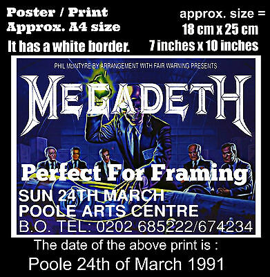 Megadeth live concert at Poole Arts Centre 24th March 1991 A4 size poster print