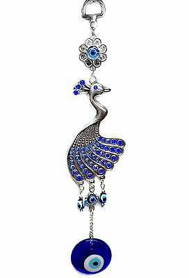 Blue Evil Eye with Peacock Protection amulet wall hanging deocration ornament
