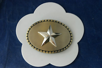 Beautiful Belt Buckle With Star Design Brass And Still Color 10 x 8 Cm. Wide