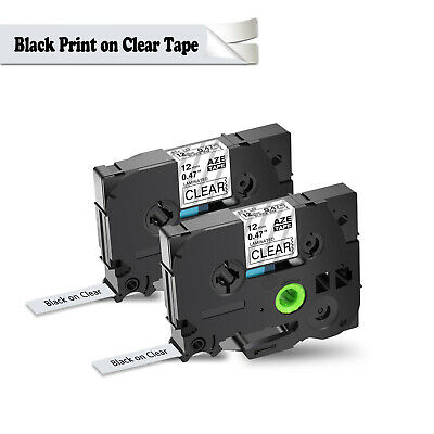 2PK Black on Clear Label Tape 12mm TZ-131 TZE-131 For Brother P-Touch PT-1830SC