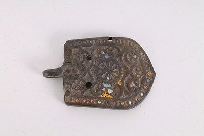Rare Ancient Antique Old Byzantine Bronze And Enamel Belt Buckle.