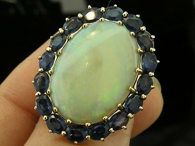 C897 HUGE Genuine 9ct Solid Gold NATURAL Opal & Sapphire Cocktail Ring in yr siz