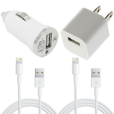 USB Home AC Wall Car Charger 2x 8 Pin Data Sync Cable For iPhone 5 5S 6 6 Plus