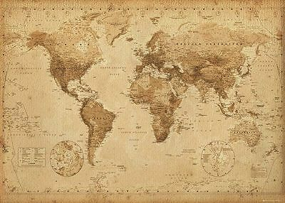 MAP OF THE WORLD POSTER 40x50cm 'Antique' Wall Chart 'Vintage' EDUCATIONAL NEW