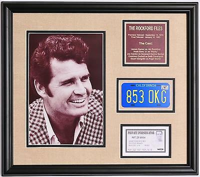 The Rockford Files James Garner framed photo tribute with license plate