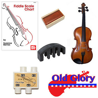 Old Glory Fiddle Pack - 1/4 Fiddle, Fiddle Scale Chart, Rosin, Pitch Pipe & Mute