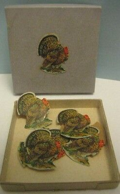 Old Dennison Thanksgiving Tom Turkey Gummed Seals in Box