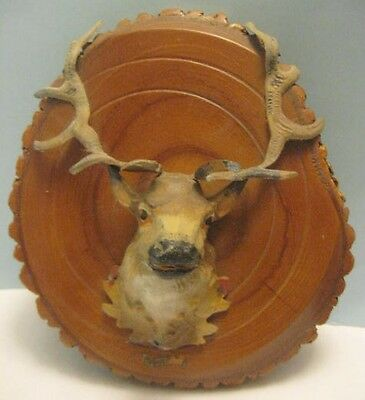 Old Unusual German Lead Christmas Reindeer Mounted Head on Tree Cross Section