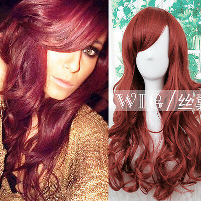 """Great Quality 24"""" Sexy Wavy Long Synthetic Wig Party / Everyday Wear Dark Red"""