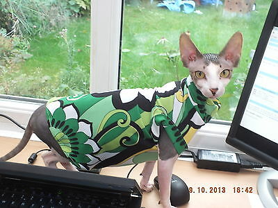 GREEN FLOWER POWER FABRIC..Hand Made Sphynx Cat Clothes for those Pampered Pets.