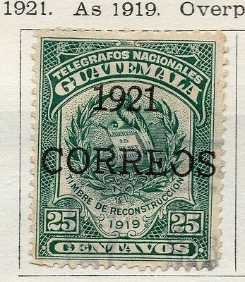 Guatemala 1921 Early Issue Fine Used 25c. Optd 118721
