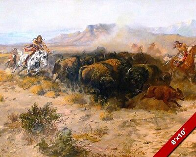 Native American Indians On Horses Hunting Buffalo Painting Art Real Canvas Print