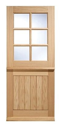 Oak Cottage Stable 6L External Exterior Door - Clear Double Glazed - Glass Wood