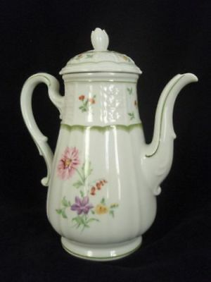 HEINRICH Germany H&C White Floral CHAMBORD Pattern China 5c COFFEE POT & LID