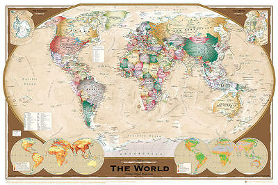 MAP OF THE WORLD POSTER (61x91cm) TRIPEL PROJECTION PICTURE PRINT NEW ART