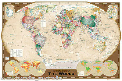 (LAMINATED) MAP Of The World POSTER (61x91cm) Tripel Projection Picture Print