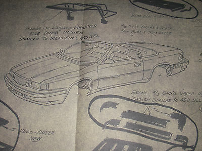 """1984 Chrysler TC by Maserati -""""proposed""""   -Technical drawing - 145 X 60"""
