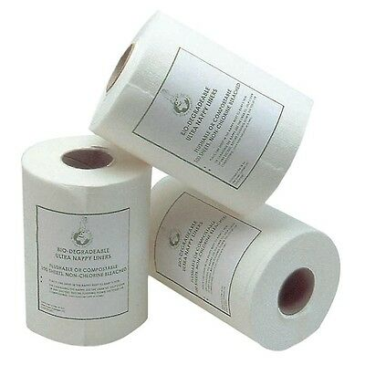 3 ROLLS!! Little Green Earthlets ULTRA Nappy Liners Flushable Liners