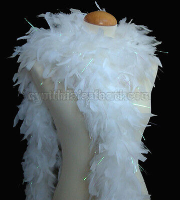 White  w/ Lurex Tinsel 65 Grams Chandelle Feather Boa Dance Party Halloween