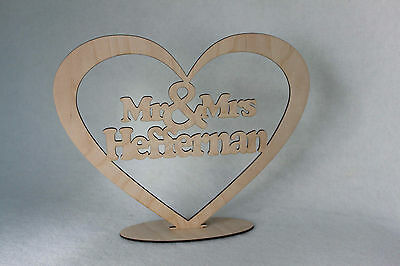 Custom  Mr & Mrs Wedding   TableTopper Wood Heart With Names and Stand