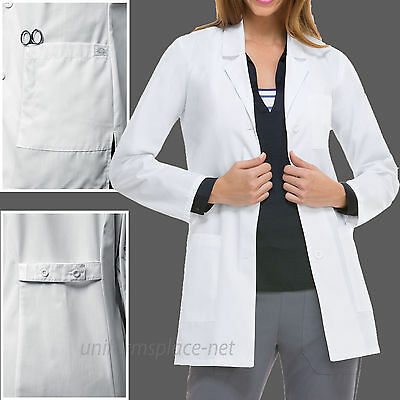 Dickies EDS SCRUBS Women Lab Coat Pocket Notched Collar Long Sleeve 84400 White