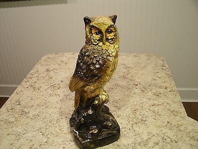"""Large 13.5"""" Vintage Hand Painted Ceramic Majestic Owl Perched on Stump Mexico"""