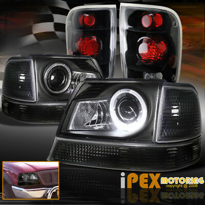 1998 2000 Ford Ranger Halo Led Projector Headlights Signal W Black Tail Light