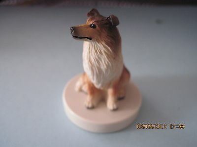 Collie Sable Stamper Figurine TinyOne NEW stamp stone resign hand painted