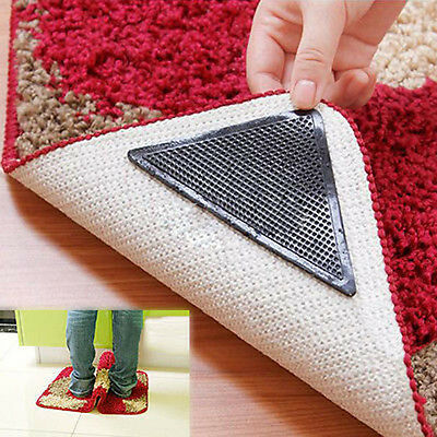 4X Rug Carpet Mat Grippers Non Slip Anti Skid Reusable Washable Silicone Grip D2
