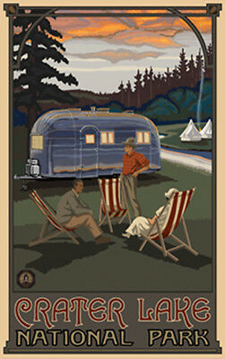 Retro Poster-Crater Lake NP-Camping Trailer (PAL-2953)