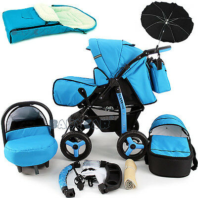 Baby Pram Stroller +Car seat - Pushchair - Buggy Umbrella Footmuff Travel system