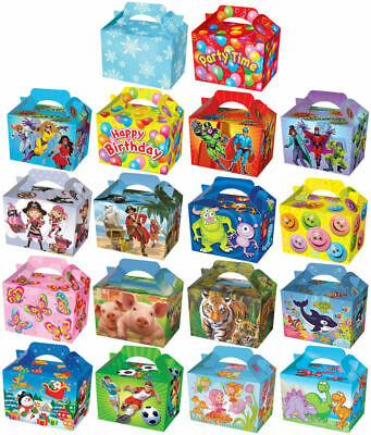 10 Themed Party Boxes - Choose From 19 Designs - Lunch Meal Gift Bag Childrens