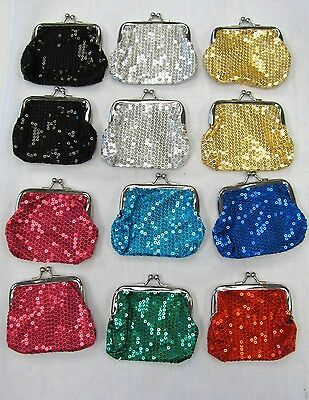 Wholesale 12 Sequin Coin Purses Assorted Colors Change Purses # 158 New